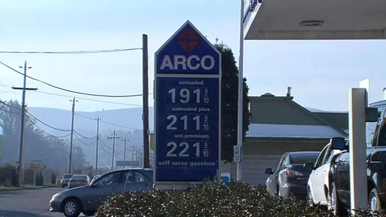 Residents were excited to find gas under $2 per gallon at this ARCO station in Mill Valley, Calif. on Tuesday, February 9, 2016.