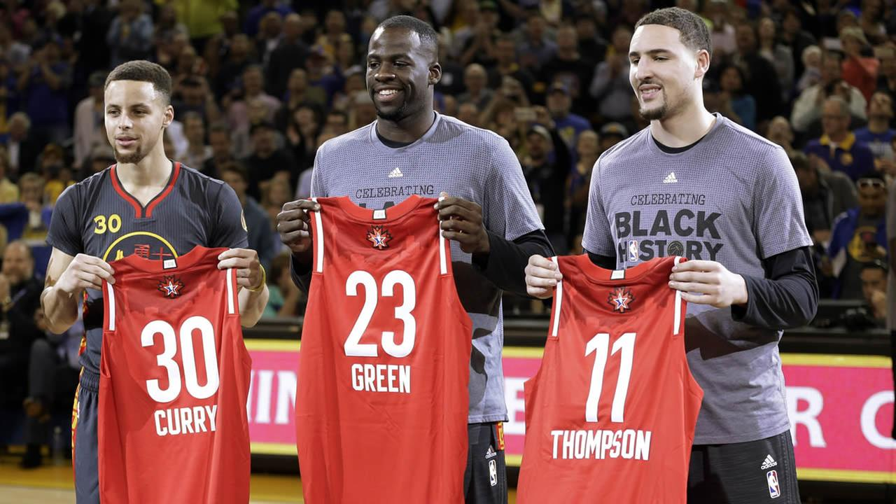Golden State Warriors Stephen Curry, Draymond Green, and Klay Thompson display their All Star Game jerseys Tuesday, Feb. 9, 2016, in Oakland, Calif. (AP Photo/Ben Margot)