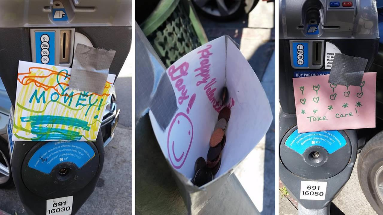 Envelopes with money popped up around San Franciscos Cow Hollow neighborhood on Saturday, February 13, 2016.