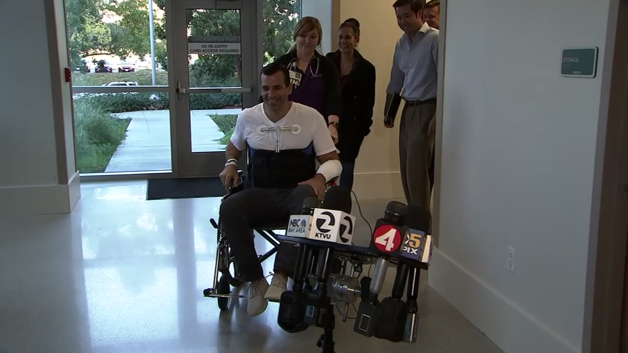 San Jose Mayor Sam Liccardo in a wheelchair after being released from the hospital after being hit by car. Jan. 2, 2019.