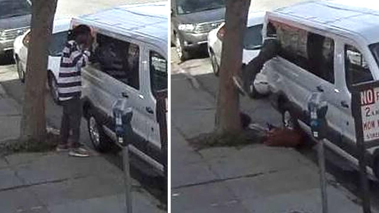 These images show surveillance video of a man in San Francisco looking into a van and then apparently stealing from it on Friday, February 12, 2016.