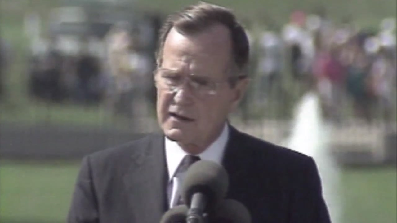 Former President George H.W. Bush giving a speech. Date unknown.