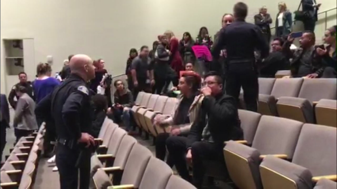 Police have cleared out the City Council chambers after protesters interrupted the debate over the sale of land to Google.