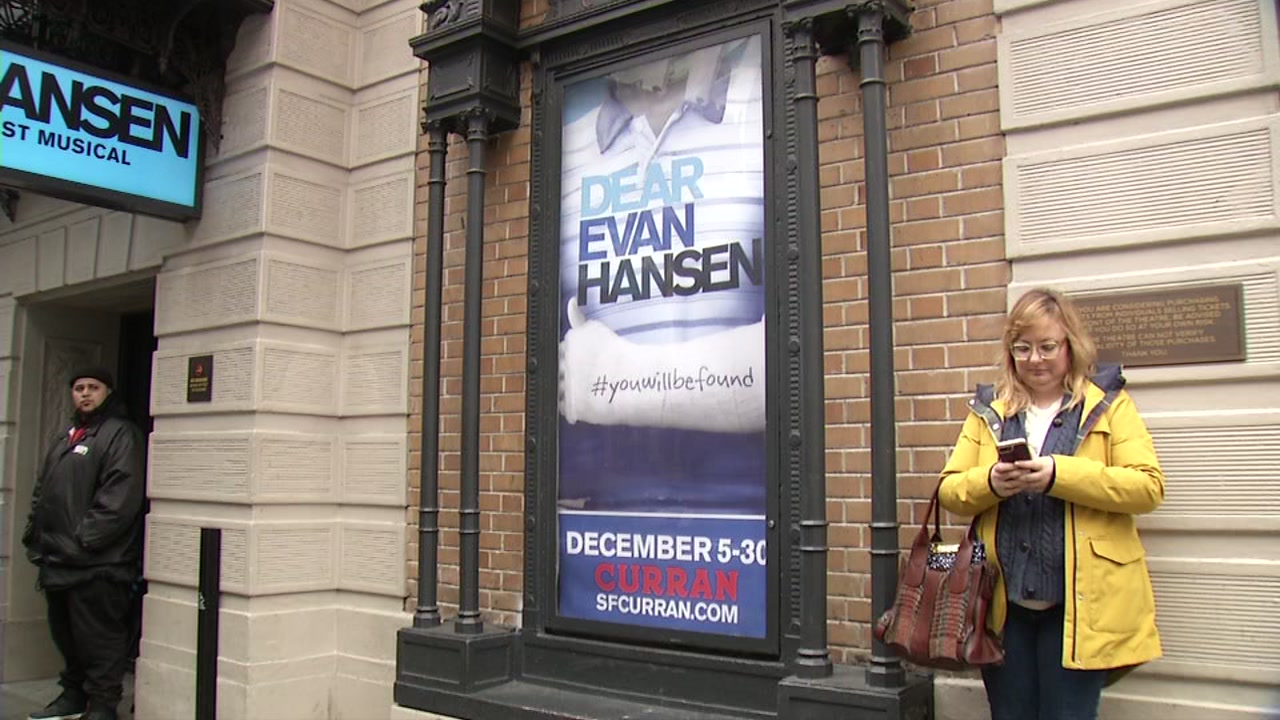 Dear Evan Hansen poster outside the Curran Theater in San Francisco, Dec. 5, 2018.
