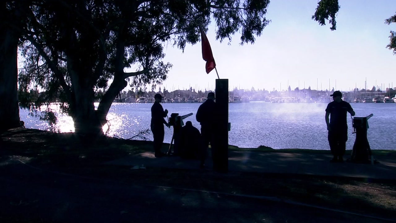 There was a 21 cannon salute for 21 minutes in Alameda Thursday to honor former President George H.W. Bush.