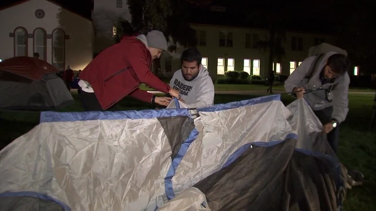 San Jose State students set up a tent as dozens plan to camp outside on campus to shed light on homelessness.