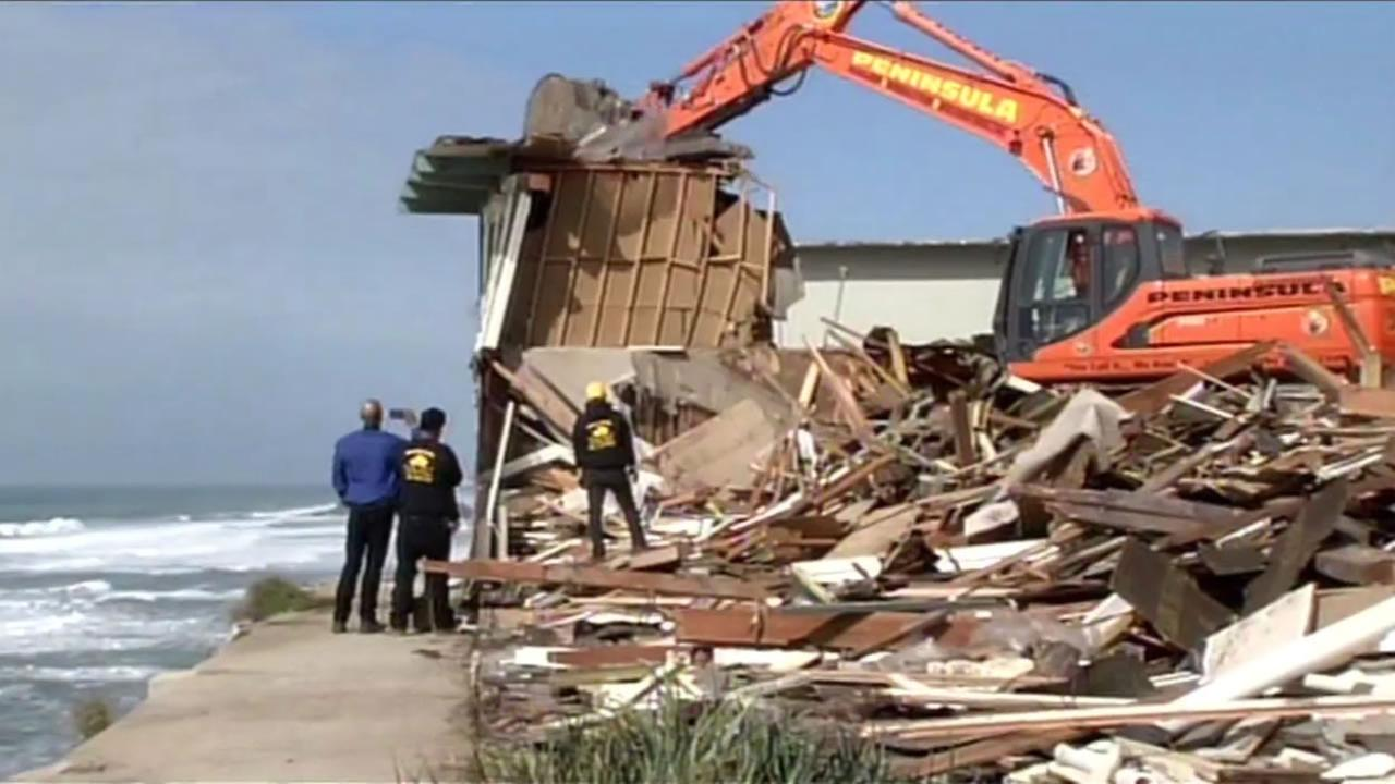 A Pacifica, Calif, apartment building that was red-tagged 6 years ago was finally demolished Feb. 18, 2016.