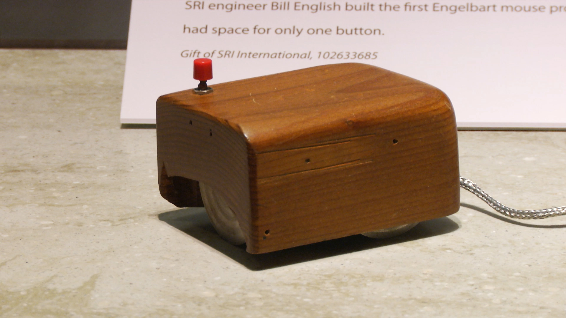 A replica of the computer mouse introduced to the public 50 years ago by Douglas Engelbart from SRI International in a presentation now called The mother of all demos.