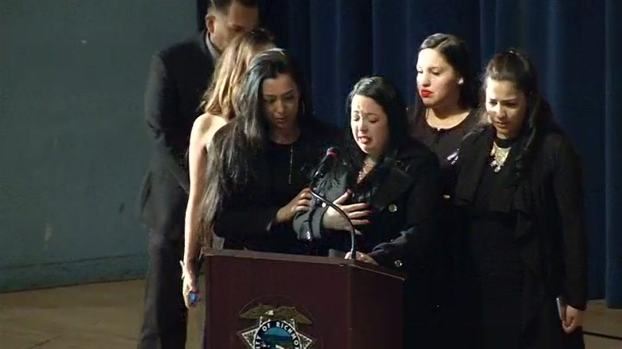 One of Officer Gus Vegas daughters spoke at his public memorial service on Friday, February 19, 2016.
