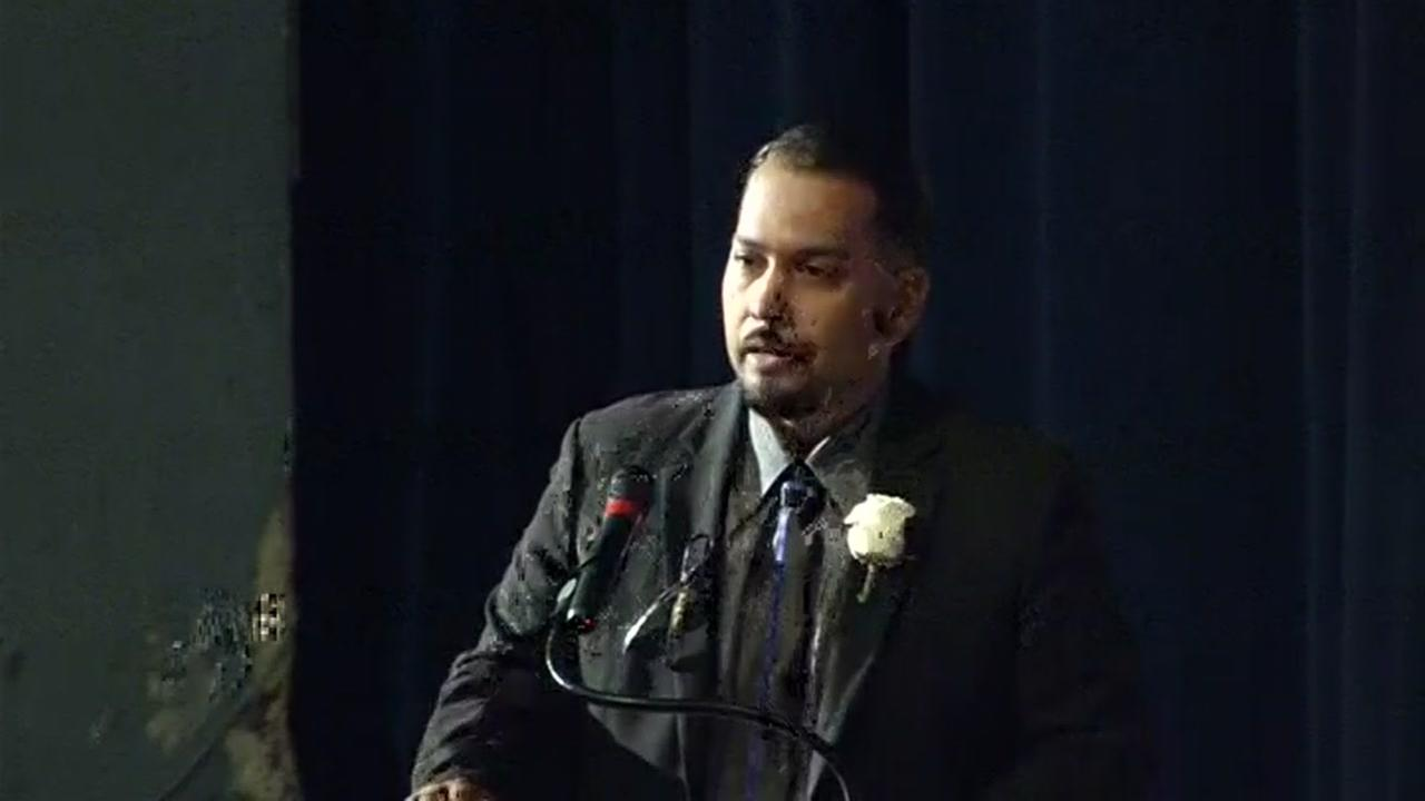The oldest son of Officer Gus Vegas, Joe Vegas, spoke at his fathers public memorial service in Richmond, Calif. on Friday, February 19, 2016.