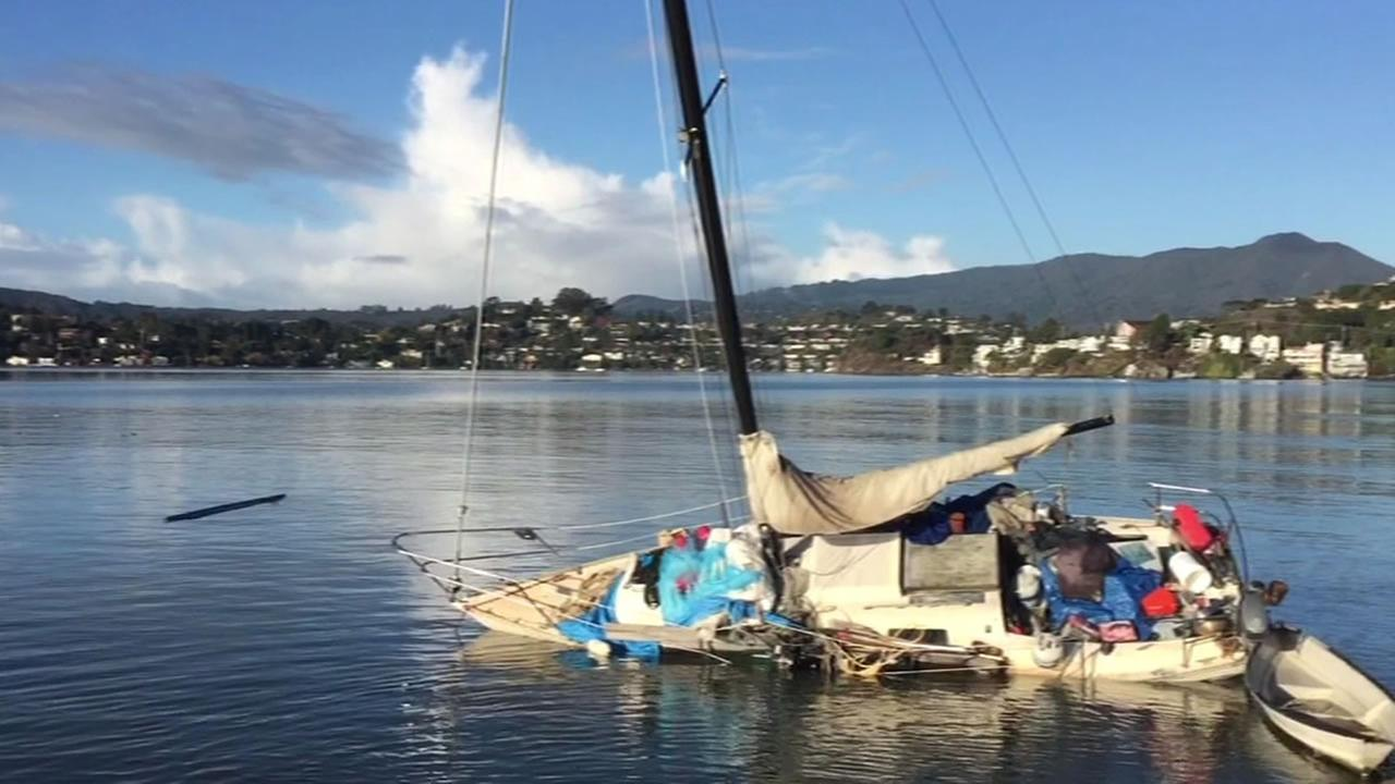 broken down boat in Sausalito