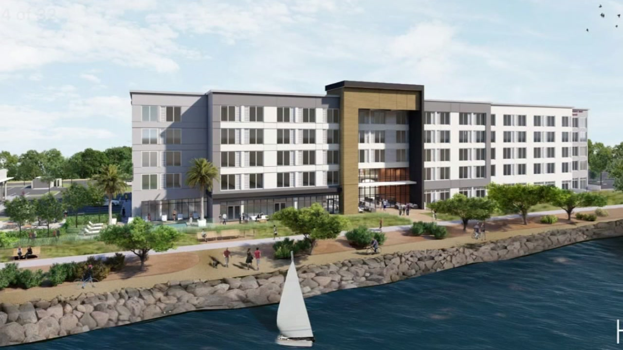 Concept art of Marriotts proposed new hotel in Alameda County.