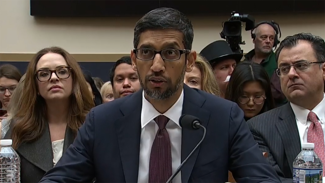 Google CEO Sundar Pichai testifies before Congress on Tuesday, December 11, 2018.