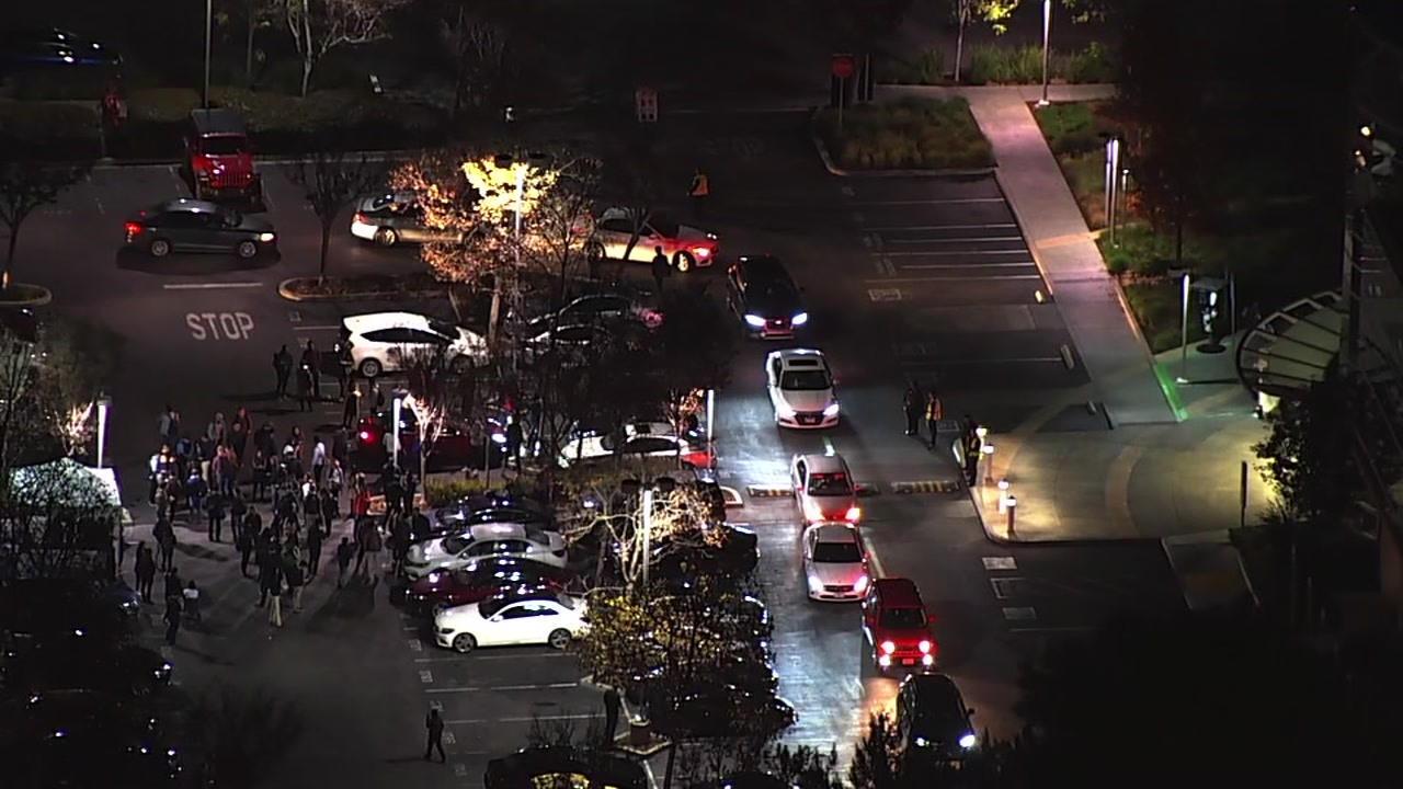 Police activity is seen after a bomb threat was received in Menlo Park, Calif. on Tuesday, Dec. 11, 2018.