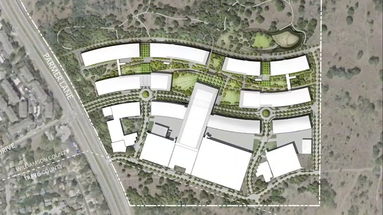 This undated image shows a rendering for an Apple campus in Austin, Texas.