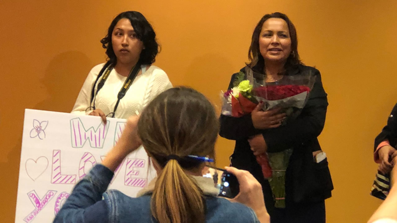 This photo shows Maria Sanchez and her daughter at San Francisco International Airport on Saturday, Dec. 15, 2018.
