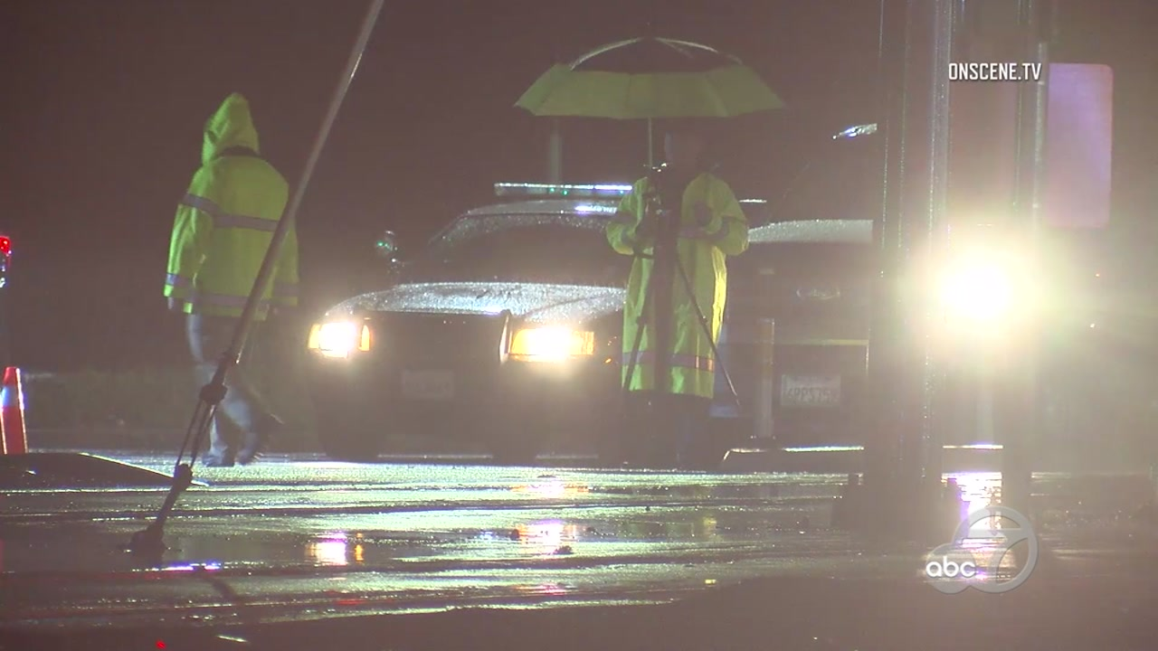 Police at scene of a fatal pedestrian crash in San Jose, California on Monday, December 17, 2018.