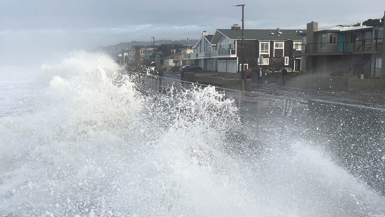 Waves crash in Pacifica on Monday, December 17, 2018.