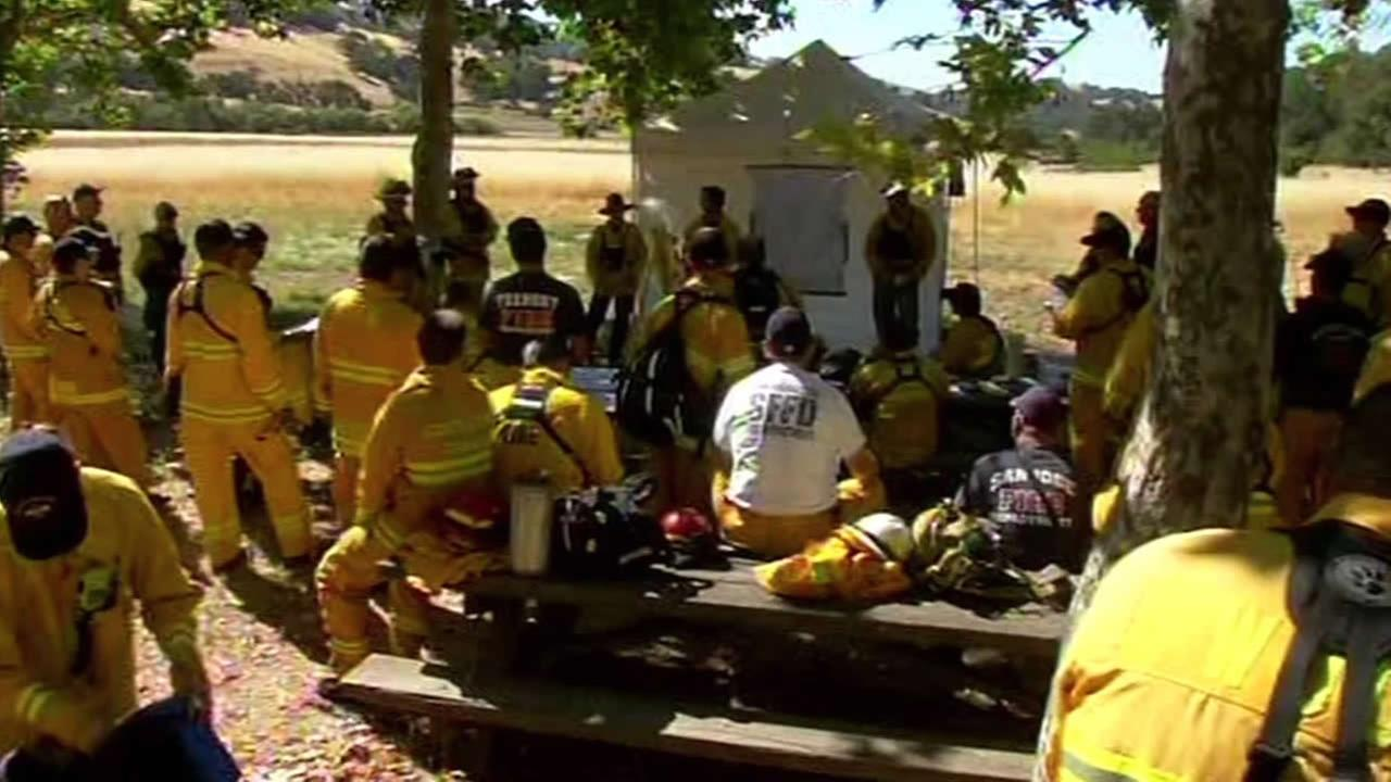 Firefighters from around the Bay Area gather for a wildfire training session in East San Jose.