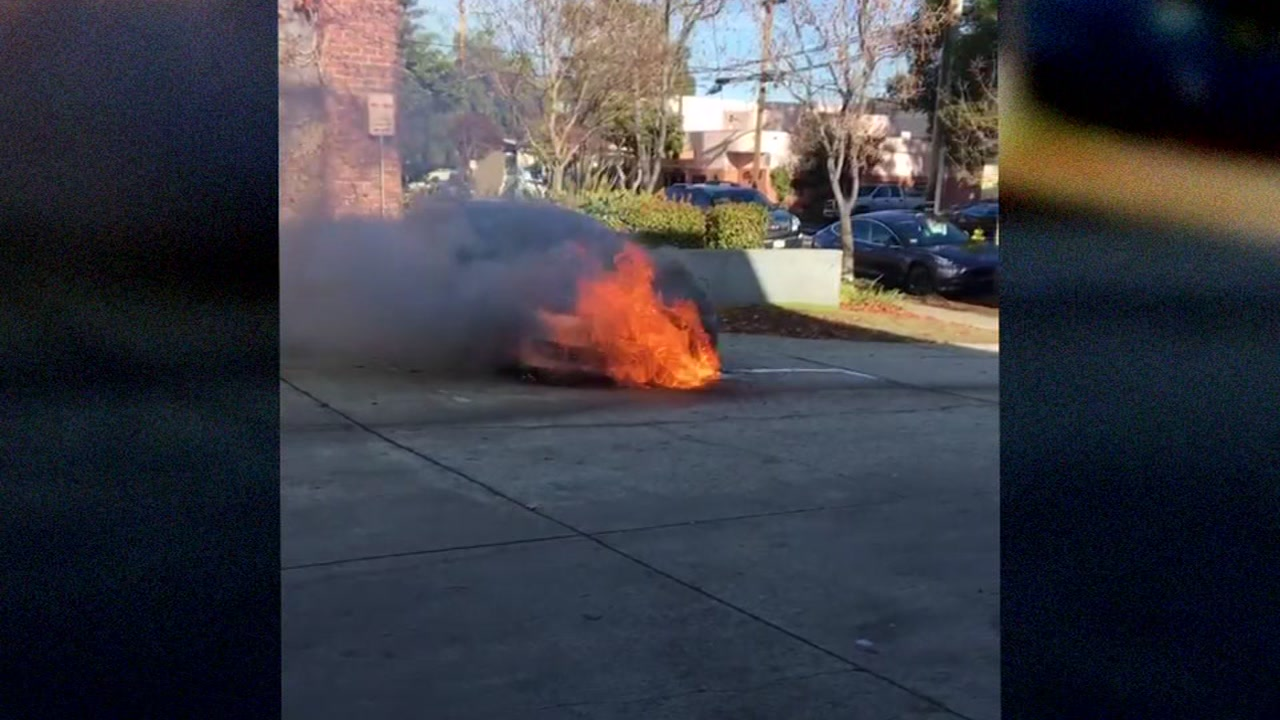 The owner of a model S Tesla captured video of his car bursting into flames. Dec. 18, 2018