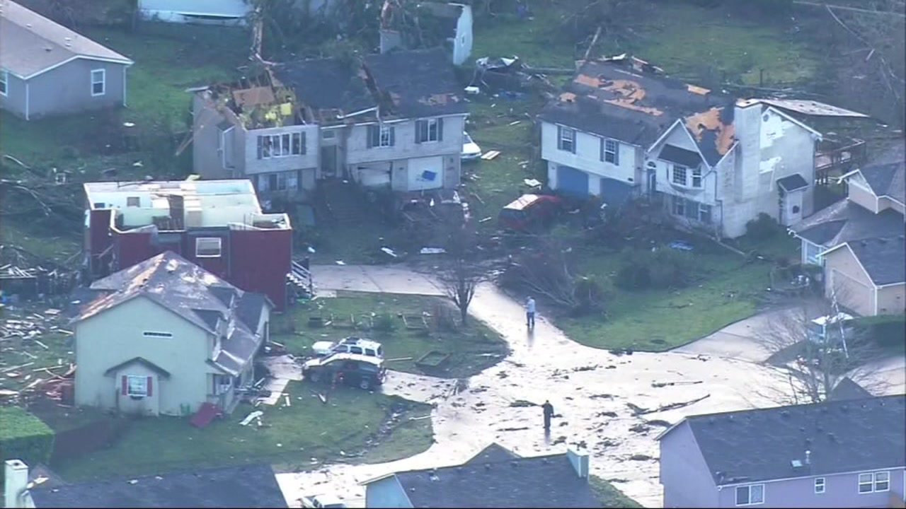 Destruction left behind by tornado in Washington.