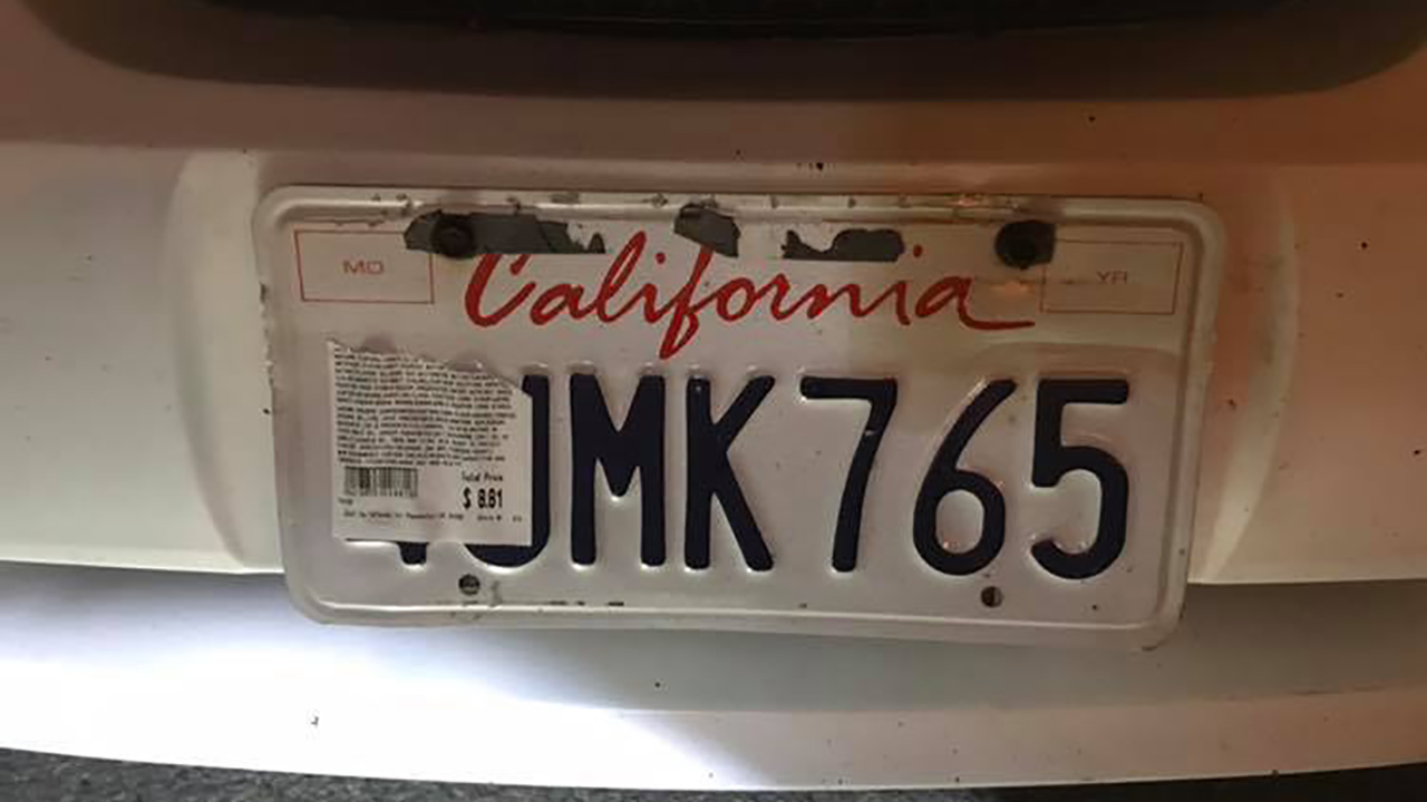 License plate covered with receipt in Marin County on Tuesday, December 18, 2018.