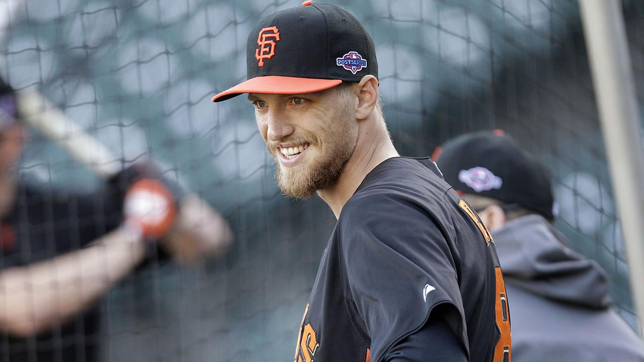 San Francisco Giants Hunter Pence smiles during a voluntary workout in preparation for Game 6 of the NLCS the Cardinals, Oct. 20, 2012 in San Francisco. (AP Photo/Ben Margot)