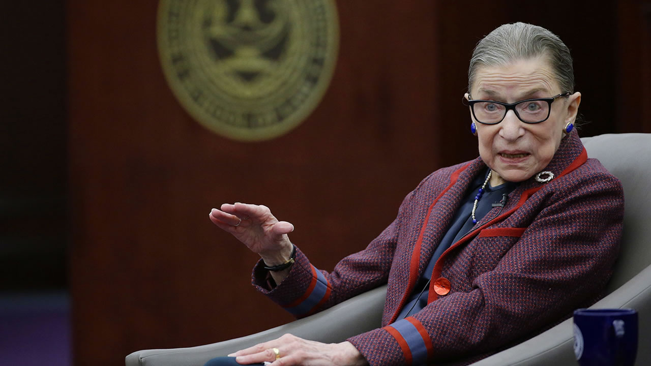 Supreme Court Justice Ruth Bader Ginsburg answers a question at the Roger William University Law School on Tuesday, Jan. 30, 2018, in Bristol, R.I.