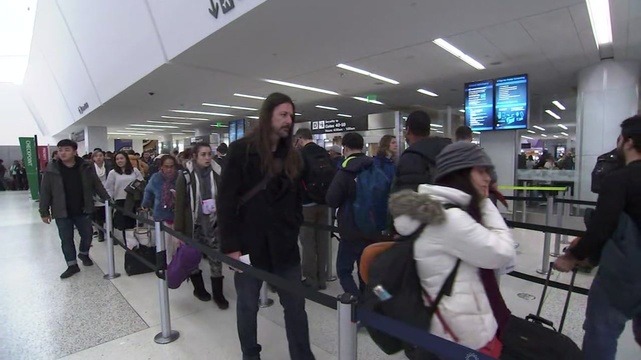 Long line at San Francisco International Airport on Friday, December 21, 2018.