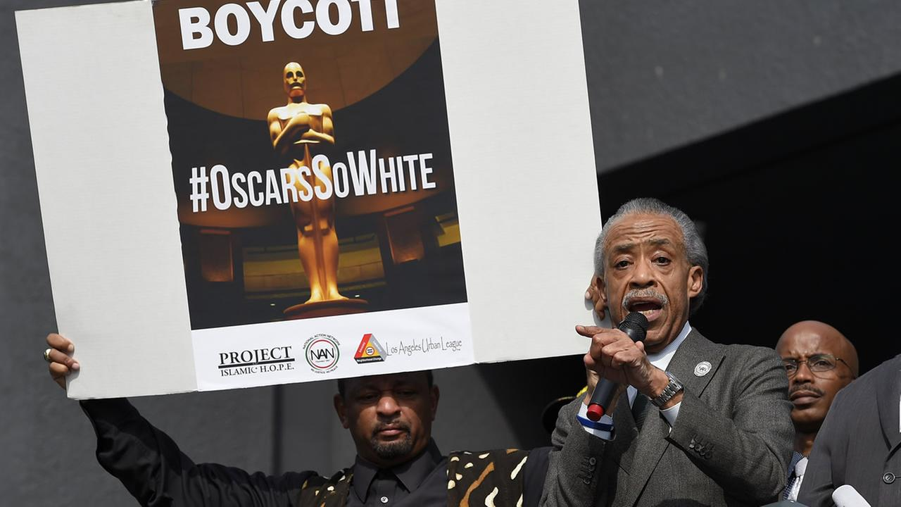 Rev. Al Sharpton, right, and activist Najee Ali lead a rally prior to the Academy Awards ceremony, Sunday, Feb. 28, 2016, Los Angeles.