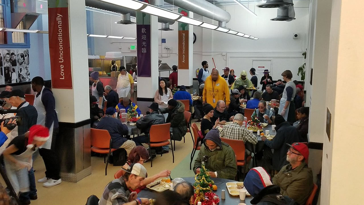 GLIDE serves up a Christmas Eve lunch in San Francisco on Monday, Dec. 24, 2018.