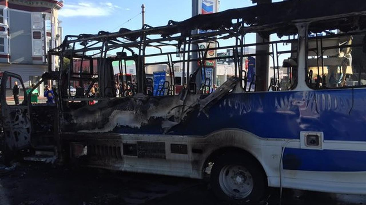 A bus caught fire at a gas station in San Francisco on Monday, February 29, 2016.