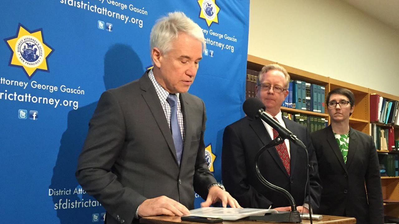 San Francisco District Attorney George Gascon reading charges filed against three sheriffs deputies in San Francisco on Tuesday, March 1, 2016.