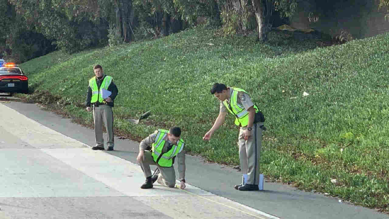 CHP investigators are seen after a deadly crash in Mountain View, Calif. on Wednesday, Dec. 26.