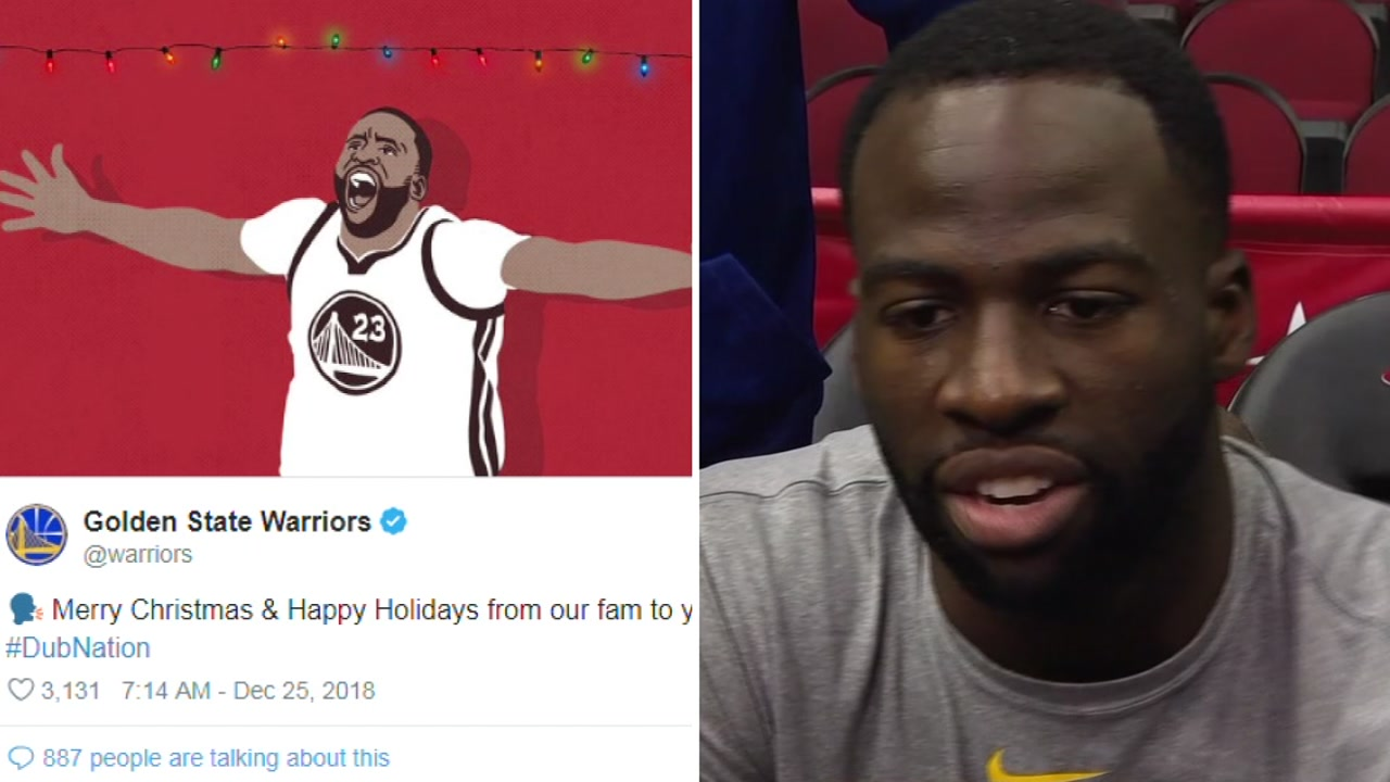 A tweet from the Golden State Warriors is seen alongside an undated image of Draymond Green.