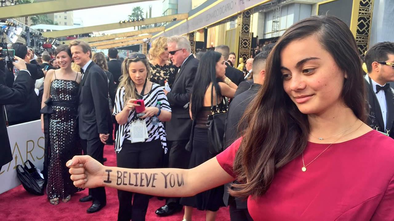 UC Berkeley student and sexual assault survivor Thanh Mai Bercher shows off writing on her arm ahead of the Oscars in Los Angeles on Sunday, February 28, 2016.