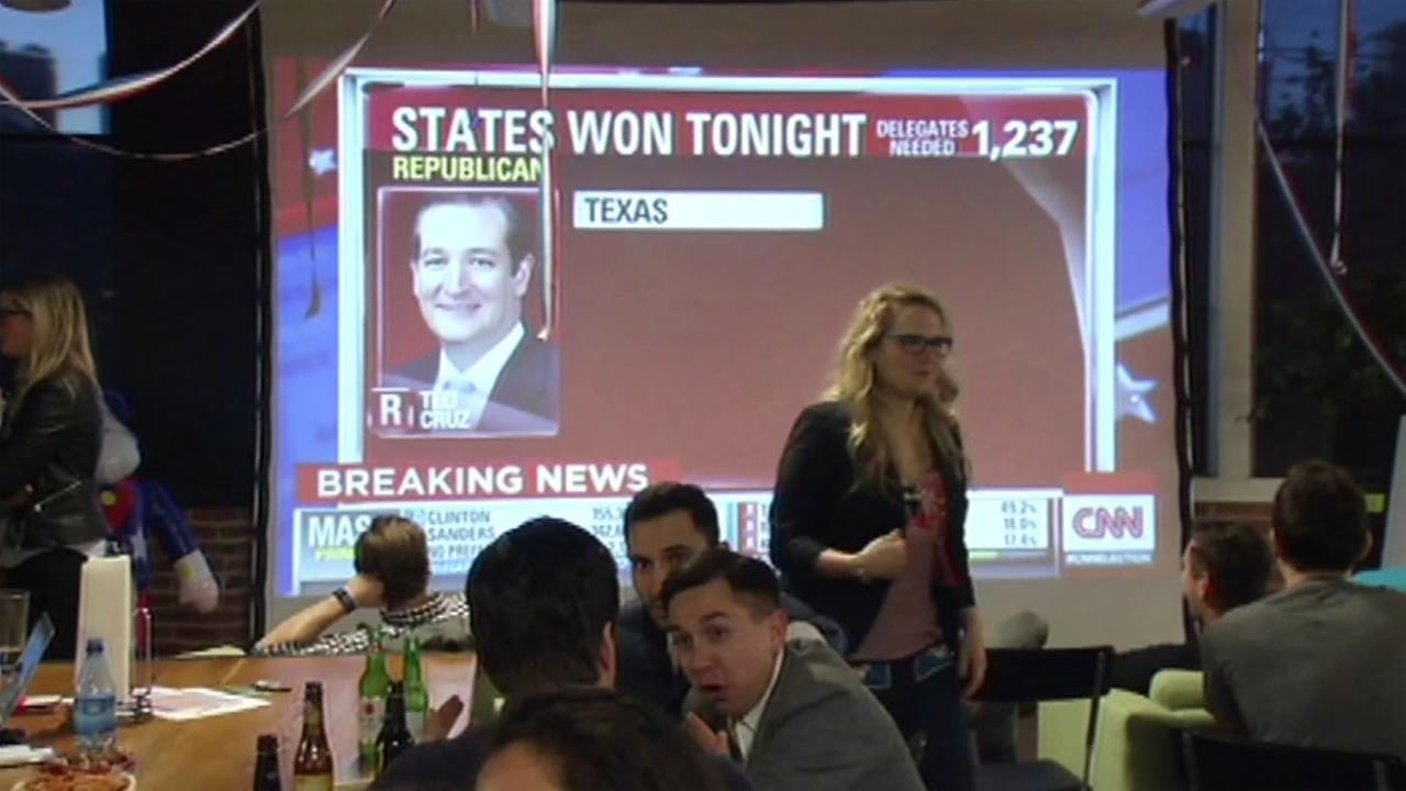 San Francisco residents attend a Super Tuesday watch party in San Francisco, March 1, 2016.
