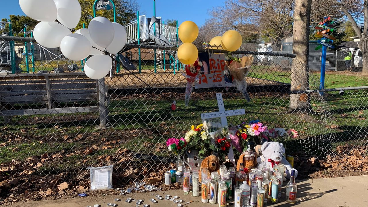 This memorial remembers Jennifer Vasquez, who family identified as the 24-year-old San Jose woman shot and killed by officers early Christmas morning.