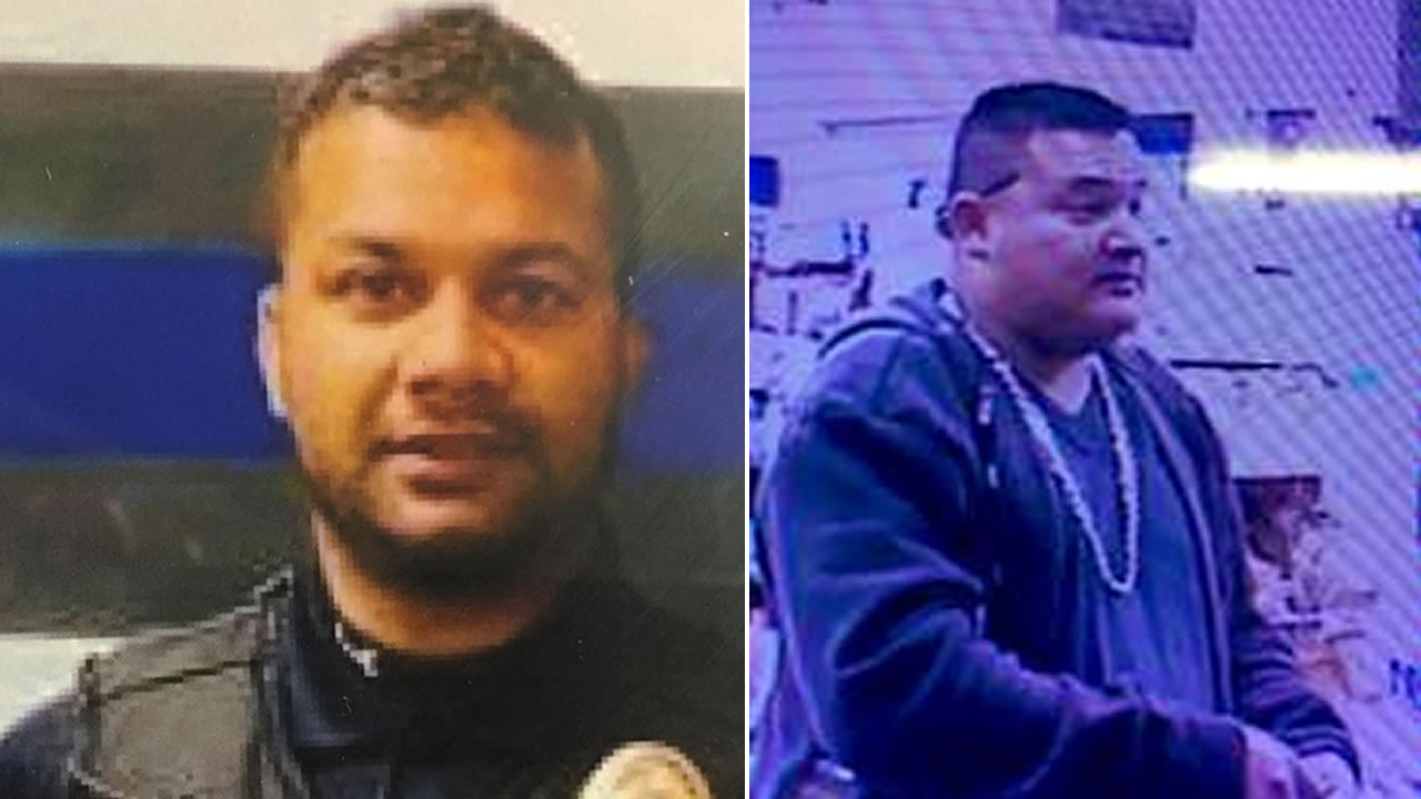Newman Police Officer Ronil Singh, left, is pictured next to the man believed to have fatally shot him, right.