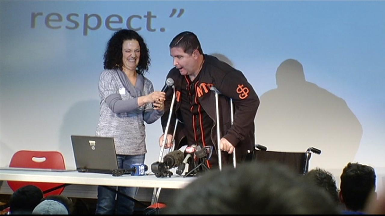 Bryan Stow, the San Francisco Giants fan who was brutally beaten at Dodger Stadium in 2011, spoke at Hillsdale High School in San Mateo, Calif. on March 3, 2016.