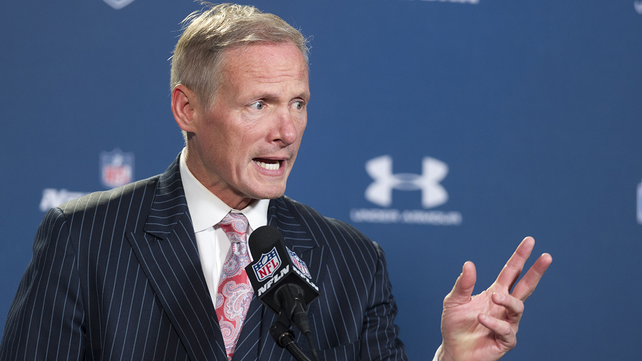 NFL Network draft analyst Mike Mayock talks with reporters during a news conference at the NFL football scouting combine in Indianapolis, Saturday, Feb. 21, 2015.