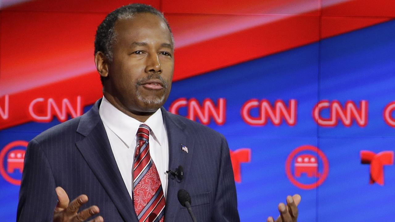 Republican presidential candidate, retired neurosurgeon Ben Carson speaks during a Republican presidential primary debate in Houston, Thursday, Feb. 25, 2016.