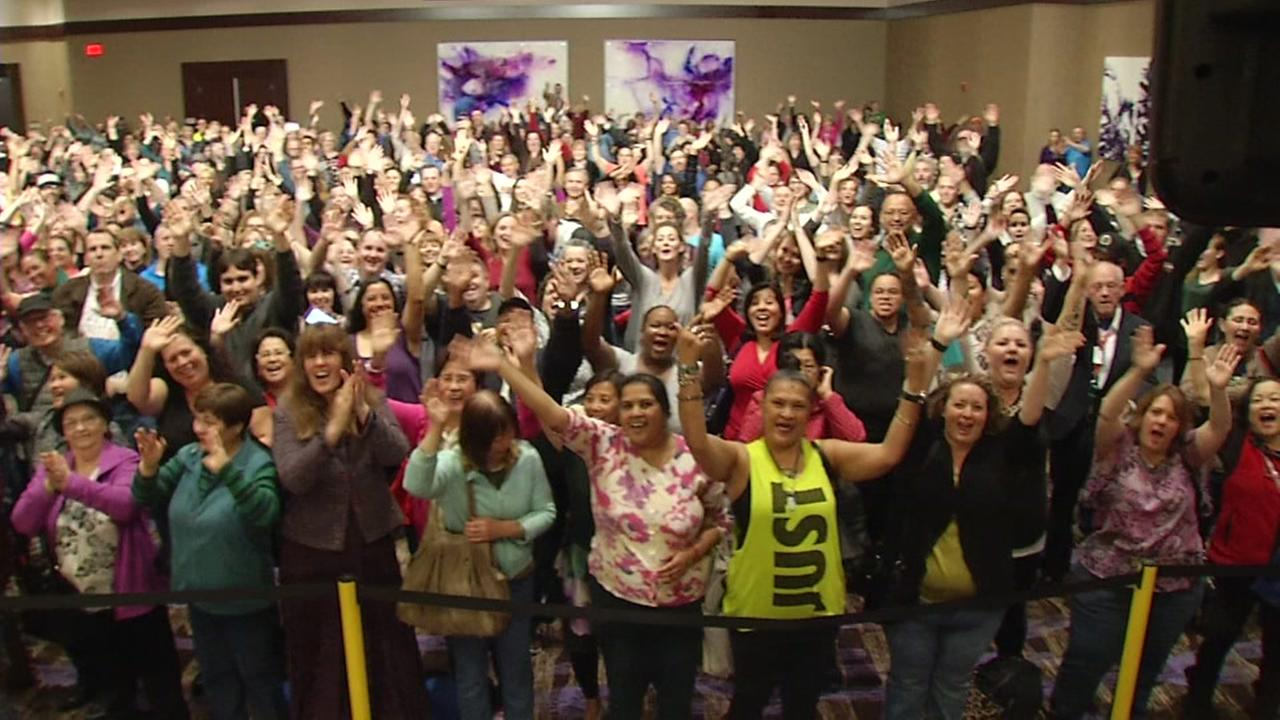 Dozens of people cheer at the Wheeel of Fortune event at the Graton Resort and Casino in Rohnert Park Saturday, March 6, 2016.