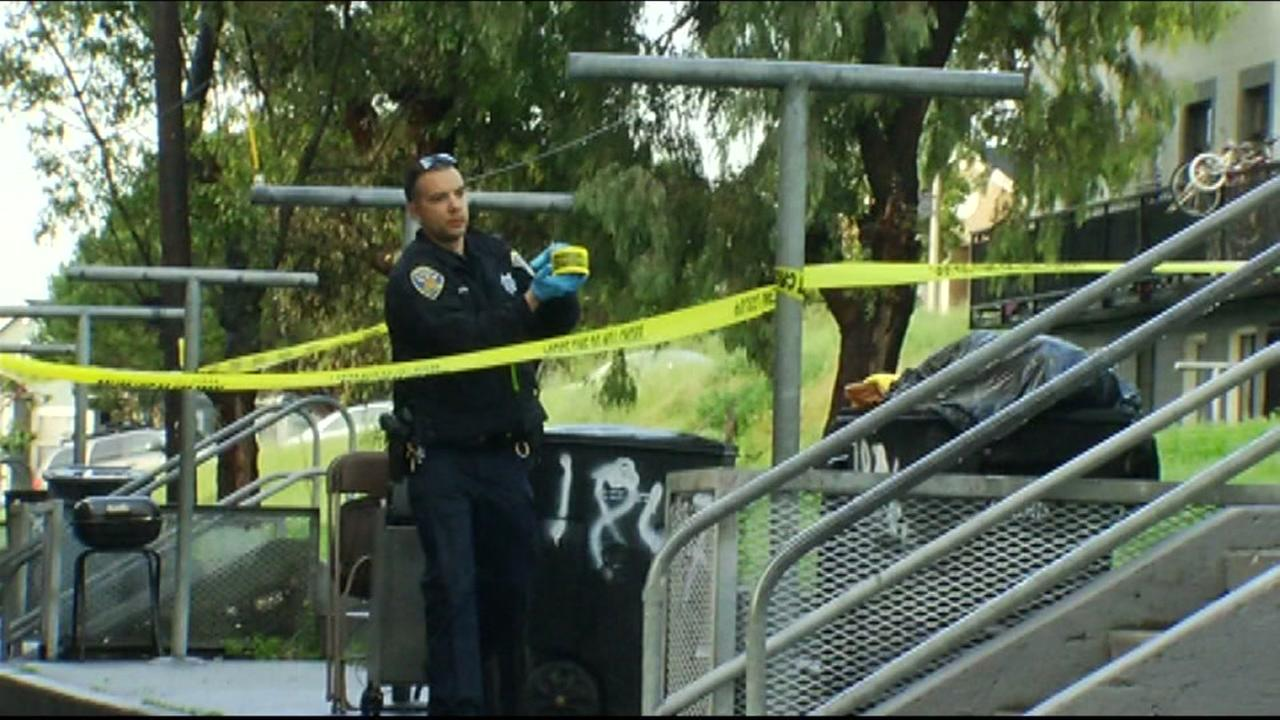 San Francisco police are on the scene of a shooting in Potrero Hill on Monday, March 7, 2016.