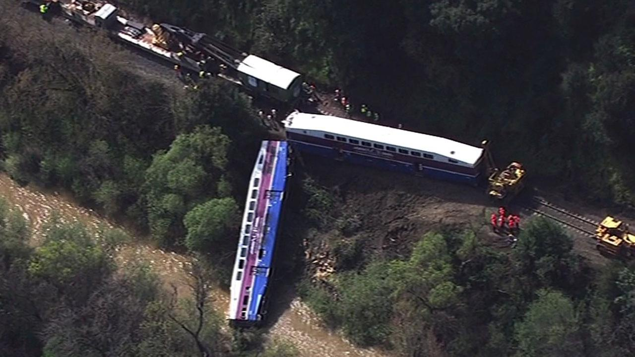 Crews are working to clear a ACE Train that derailed in Sunol, Wednesday, March 8, 2016.