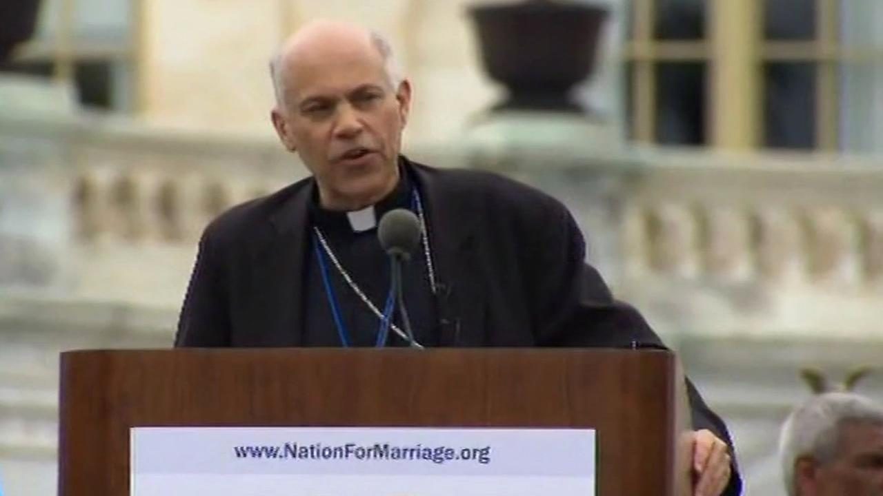 San Francisco Archbishop Salvatore Cordileone speaks at the March for Marriage in Washington DC.