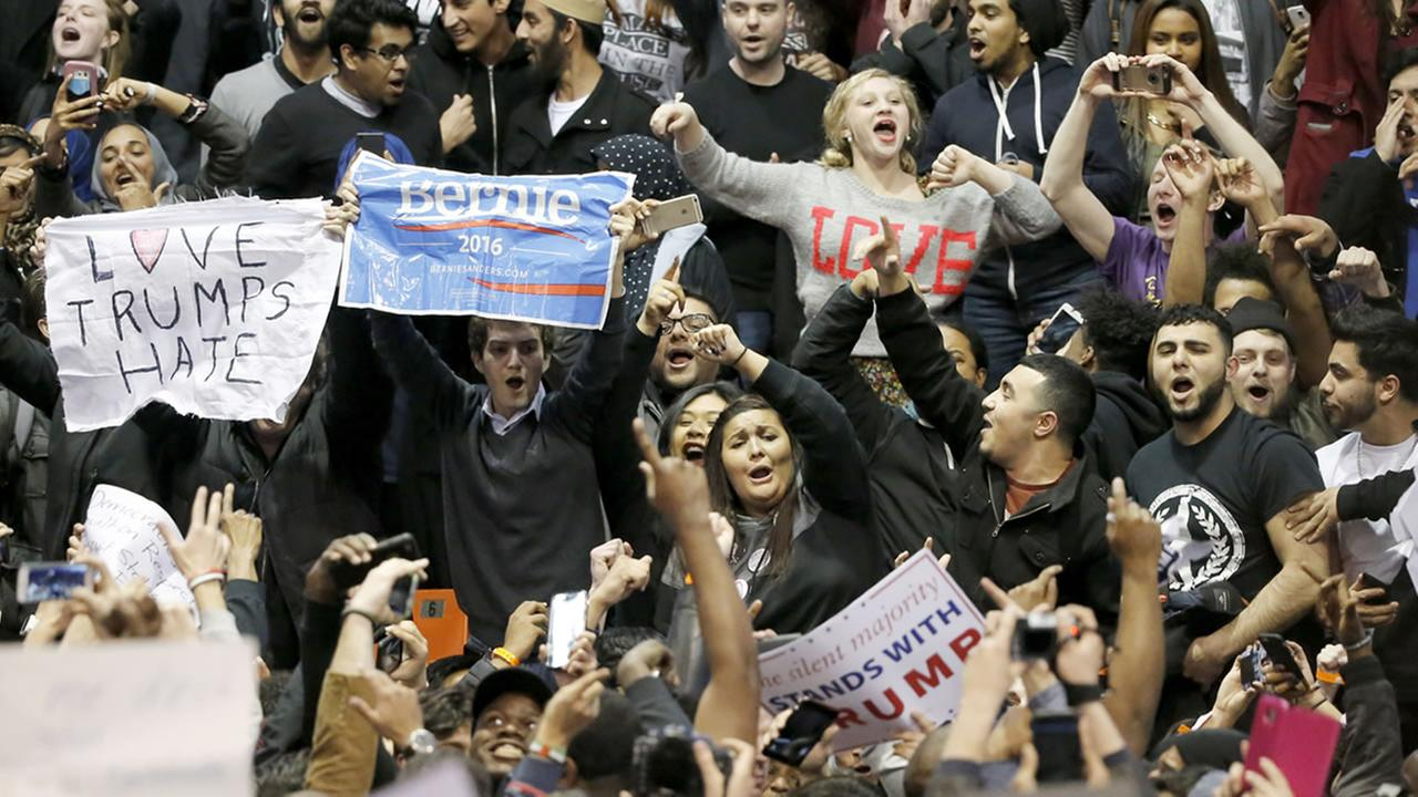 Protesters against Republican presidential candidate Donald Trump chant Bernie, Bernie, and We Stopped Trump, after a rally at the University of Illinois-Chicago March 11, 2016.
