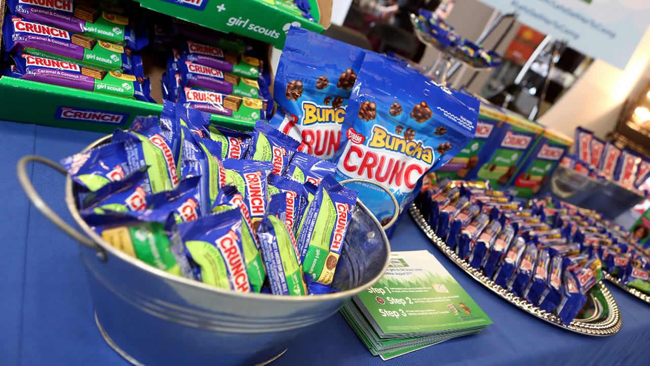 FILE: Nestle Girl Scout Candy Bars are on display at an event on Saturday, Aug. 23, 2014 in Los Angeles.