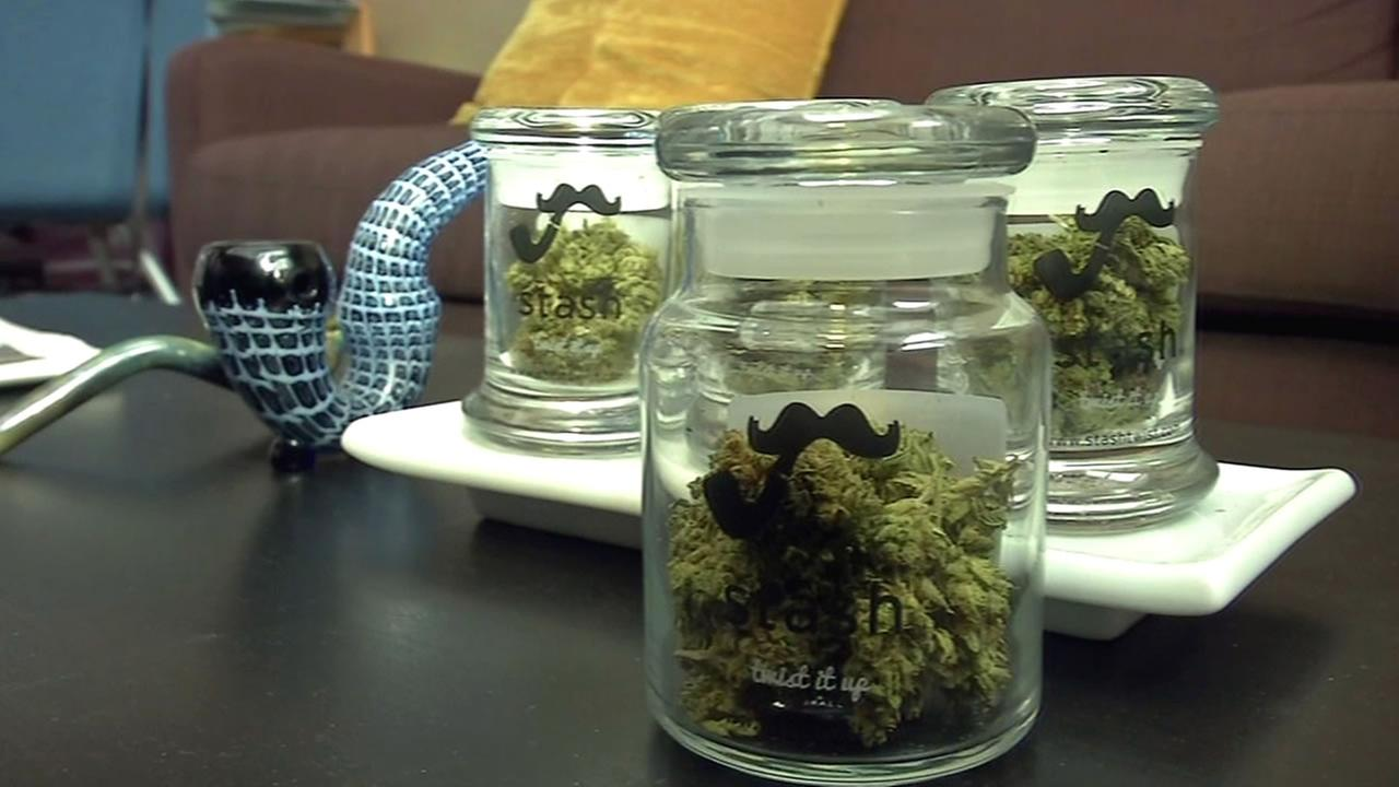 Cannabis is seen in jars in this undated image.