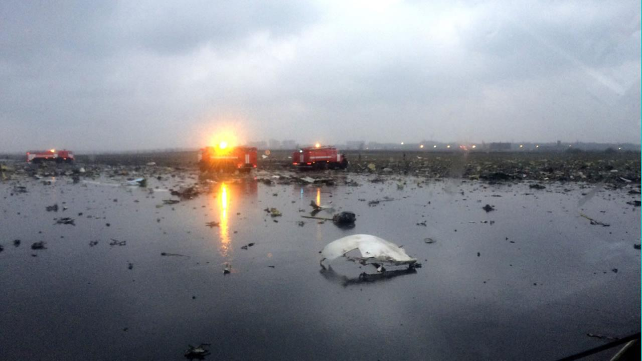 In this photo provided by vk.com/rostovnadonu, Russian emergency fire trucks are seen among the wreckage of a crashed plane at the Rostov-on-Don airport March 19, 2016.